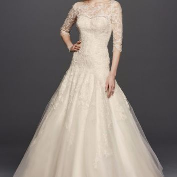 Oleg Cassini A-line Illusion Lace Wedding Dress - Davids Bridal