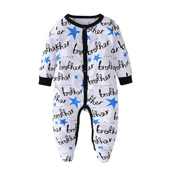 Newborn Clothes 100%Cotton Casual Baby Boys Girls Romper Long Sleeve Letters Printed Jumpsuit Infant Toddler Clothing Outfits