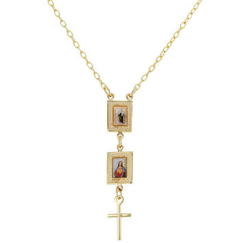 18k Gold Plated Virgin Mary Sacred Heart Of Jesus Cross Scapular Medal Necklace