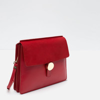 LEATHER MESSENGER BAG WITH PLEATS