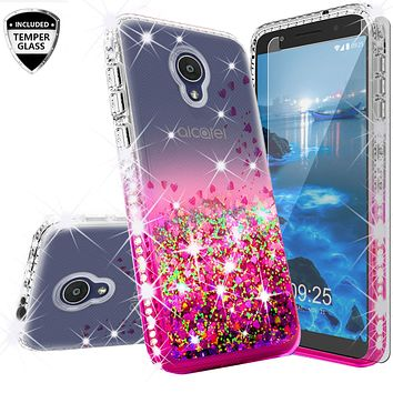 Alcatel 1x Evolve Case Liquid Glitter Phone Case Waterfall Floating Quicksand Bling Sparkle Cute Protective Girls Women Cover with Temper Glass for 1x Evolve - Hot Pink