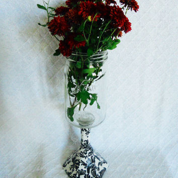 Pedestal Mason jar with black damask details perfect to be used as a candy dish, candle sconce, or hillbilly wine glass, Mason jar vase