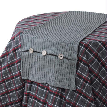 2 Table Runners - Gray Knit With Buttons