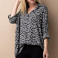 Leopard Print Button Down Shirt - Grey