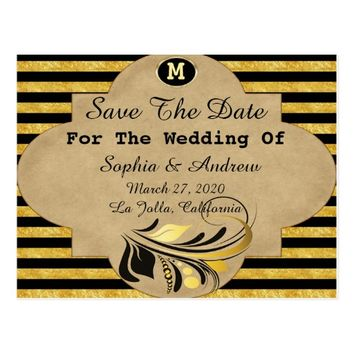 Gold and Black Stripe Save The Date Postcard