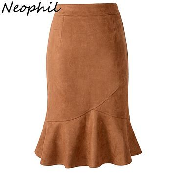 Neophil Womens Pink Mermaid Suede Pencil Knee Length Skirts 2017 Casual Fishtail Patchwork Bodycon Sexy High Waist Saias S1826