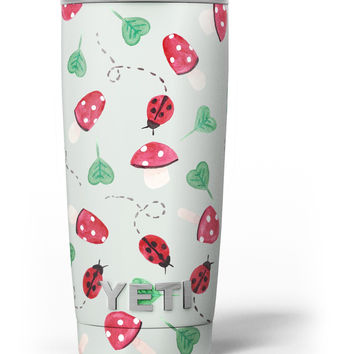 The Sping Lady Bug and Heart Clovers Yeti Rambler Skin Kit