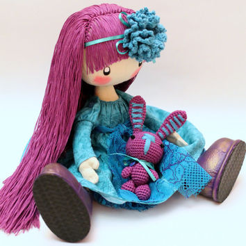 Doll Flossya  purple and turquoise