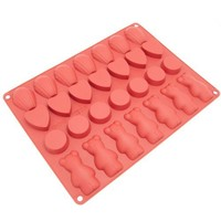 Freshware CB-106RD 28-Cavity Variety Silicone Mold for Homemade Madeleine Cookies, Chocolate, Candy, Gummy Bear, and More