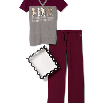 Boyfriend Pant & V-neck Tee Gift Set - PINK - Victoria's Secret