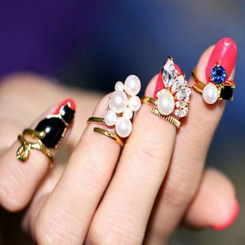 ONETOW New fashion gem pearl nail ring