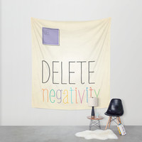 Keys to Life Series - Delete Negativity Wall Tapestry by Noonday Design