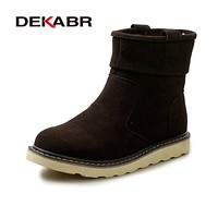 DEKABR New Fashion Winter Man Boots Round Toe Ankle Low Heel Solid Keep Warming Male Footwear Casual Comfortable Snow Boots Men