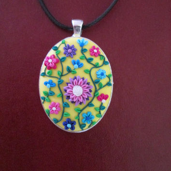 yellow floral necklace,yellow polymer clay pendant,flower girl necklace,floral cameo necklace,cameo necklace yellow,ready to ship jewelry