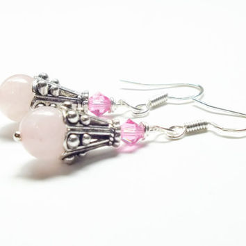 Rose Quartz Earrings, Pink Swarovski Earrings, Sterling Silver Earring Dangles