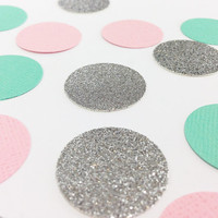 "150 Mint Green + Silver Glitter + Light Pink Circle Confetti - 1 Inch - 1"" - Confetti for weddings, birthdays, parties and more!"