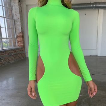 Hot selling continuously empty high collar sexy waist side long sleeve wrap hip skirt