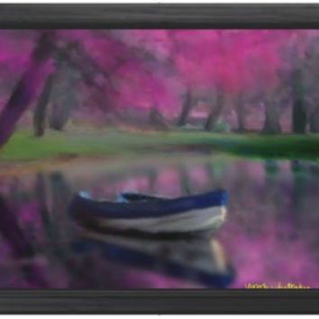 Impressionist Twilight Digital Painting signed art print A2 59 x 42 cm france boat landscape