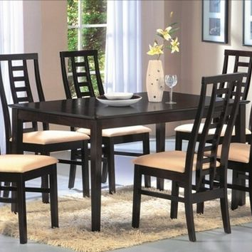 Casa Blanca Alondra-7PC 7 pc alondra collection espresso finish wood with dining table set with vinyl upholstery on the seats with curved backs