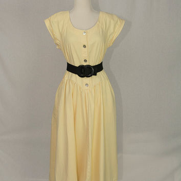 Vintage 1980's Yellow Denim Midi Dress Drop Waist Princess Button Down