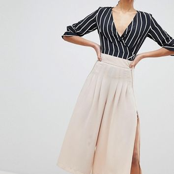 Parallel Lines Wide Leg Pleated Trousers With Zip Detail at asos.com