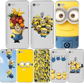 New Minions Banana Funny Cute Thin Silicone Transparent Clear tpu Phone Cases for iphone 5s 7 6 6s 6splus 7plus 5 se Capa Fundas
