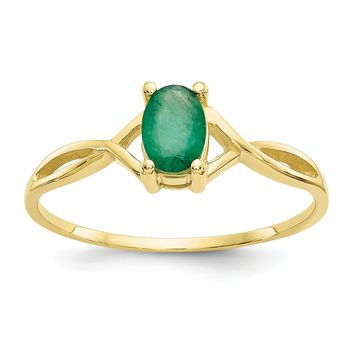 14k or 10k Yellow Gold Oval Genuine Emerald May Birthstone Ring