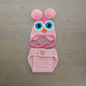 Crochet Owl Costume, Crochet Owl Set, Baby Owl Costume, Diaper Cover Set, Crochet Baby Hat, Pink Owl, Newborn Photography Prop, Photo Prop