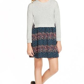 Girl's Ten Sixty Sherman Mixed Media Popover Dress,