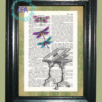 Mirror Reflection of Dragonflies -- Vintage Dictionary Book Page Art-Upcycled Page Art,Wall Art,Mixed Media Art