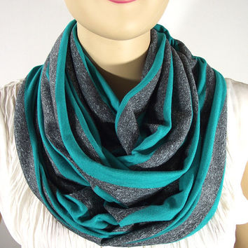 Infinity Scarf, Emerald Gray Striped, Circle Scarf, Cotton Jersey Knit Scarf, Loop Scarf, handmade Scarf, All Seasons Scarf
