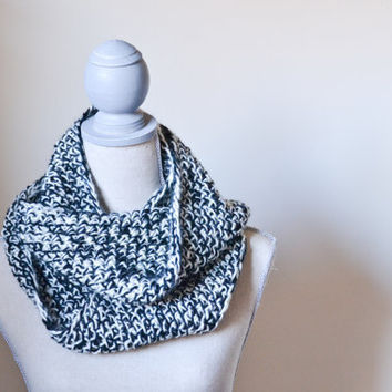 Black and Ivory Loop Scarf - Made to Order - FREE SHIPPING