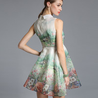 Floral House Graphic Peter Pan Collar Mesh Skater Dress