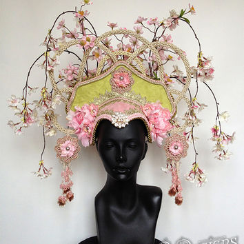 MADE TO ORDER  Asian Flower Headdress