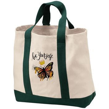 "Inspiring Butterfly 2-Tone Shopping Tote - ""Be Yourself"""