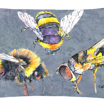Bee Bees Times Three   Canvas Fabric Decorative Pillow