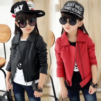 Baby Girls Leather Jacket Kids And Coats Spring Kids Leather Jackets Boys Casual Black Solid Children Outerwear 2018 New