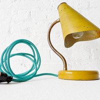 Retro Yellow Gooseneck Desk Lamp with Aqua Green Blue Net Cord - Classic Vintage Table Desk Light - Unique Home Decor - Mid Century Decor