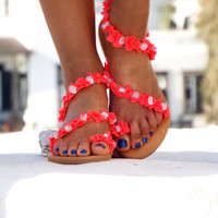"Pink peach neon Sandals,  Leather Sandals, Greek Sandals, ""Passion fruit"" gemstones Sandals, , barefoot sandals,"