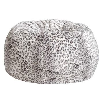 Gray Cheetah Faux Fur Beanbag