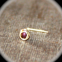 Plum Beaded Nose Stud, 24 Gauge or 20 Gauge, Tiny Gold Nose Ring, Tiny Plum Nose Ring, Nose Jewelry, Tragus Stud, Stud Earring