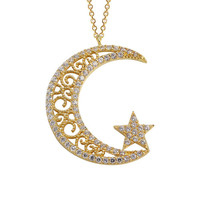 Moon Star 14k Solid Gold Necklace Ottoman Style