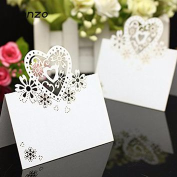 Tronzo 10 pcs Table Cards Love Heart Laser Cut Paper Vine Seat Cards For Wedding Party Favors Decoration Name Place Cards