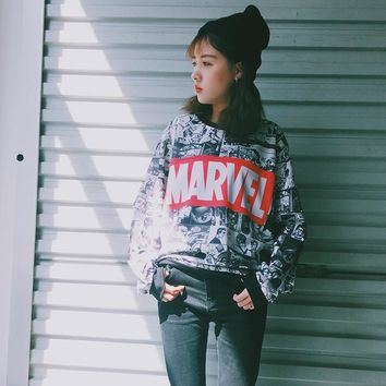 2018 Fall New Harajuku Style Marvel Comics Pattern Print Hoodie Women Vintage Cotton Loose Neck Long Sleeve Pullover 0671#