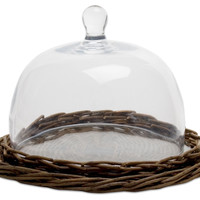 "Willow & Glass Display Dome, 8.5"", Serving Plates & Platters"