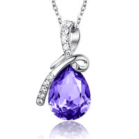 Eternal Love Teardrop Swarovski Elements Crystal Pendant Necklace - Violet