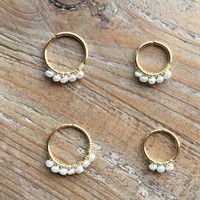1.0mm/18ga.-10mm gold ring with 7 super TINY freshwater pearls earring Hoop/Septum/Helix/Cartilage/Helix Rings-summer Body jewelry