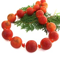 Chunky Apple Coral Handmade Necklace, Red Coral Sterling Summer Beach Jewelry