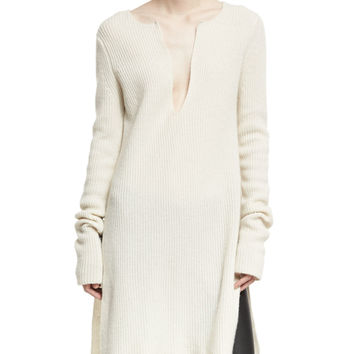 Rosetta Getty Ribbed Cashmere Side-Slit Tunic and Matching Items