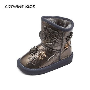 CCTWINS KIDS 2018 Winter Baby Boy Stud Snow Boot Children Genuine Leather Warm Shoe Girl Fashion Mid Calf Boot CS1545